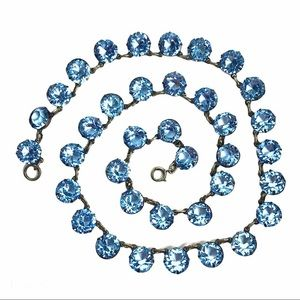 Vintage Crystal Blue Glass Necklace Czech
